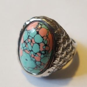 Stainless steel turquois ring. Large sizes